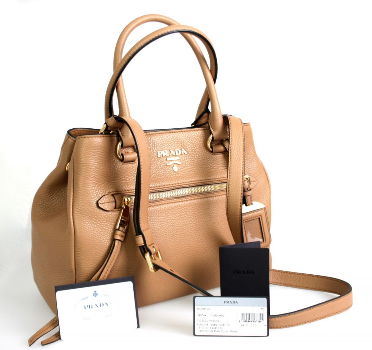 luxus prada schulter tasche handtasche 1bg044 caramel neu. Black Bedroom Furniture Sets. Home Design Ideas