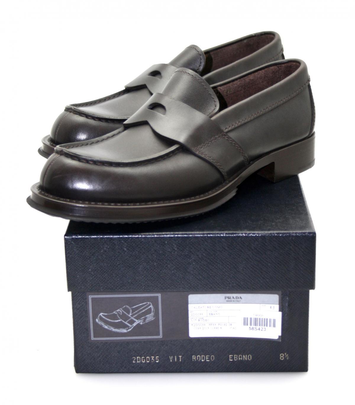luxus prada slipper schuhe pennyloafer 2dg035 braun neu 8 5 42 5 43 ebay. Black Bedroom Furniture Sets. Home Design Ideas