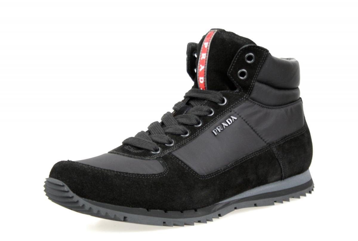 luxus prada high top sneaker schuhe 4t2782 schwarz neu new 8 5 42 5 43 ebay. Black Bedroom Furniture Sets. Home Design Ideas
